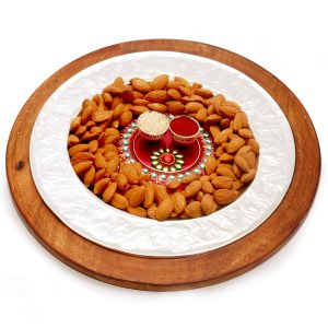 Diwali Hampers - Silver Wooden Almond Platter With Mini Pooja Thali