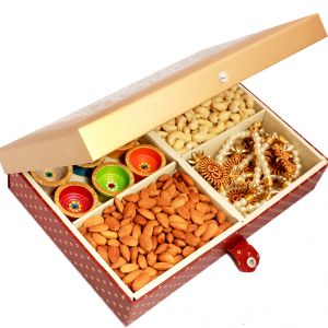 Dryfruits- Big Golden Printed Cashews, Almonds, Diyas And Toran Hamper Box