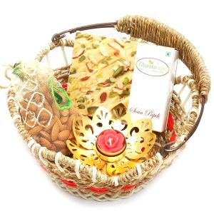 Jute Cane Basket With Soan Papdi, Almonds Pouch With Golden T-lite