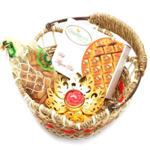Jute Cane Basket With Mysore Pak, Almonds Pouch With Tgolden- Lite