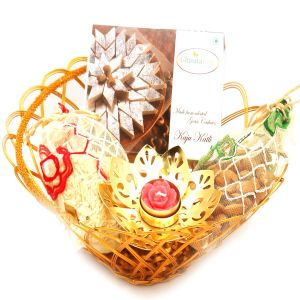 Gold Wired Basket With Kaju Katli, Almonds, Namkeen Pouch With Golden T- Lite