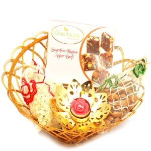 Healthy Hampers - Gold Wired Basket With Sugarfree Mix, Almonds, Roasted Protein Mix Namkeen Pouch With Golden T- Lite