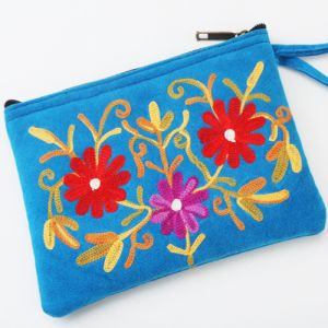 Wallets, Purses - Hand bags-Kashmiri Blue Leather Pouch