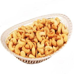 Dryfruits - Silver Oval Bowl With Roasted Cashews