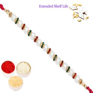 Silver & Gold Rakhi Thalis (India) - Rakhi for Brother Rakhis Online - P-4702 Pearl Rakhi