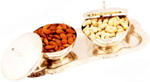 Dryfruits - Set Of 2 Silver Bowl Lid Set With Dryfruits