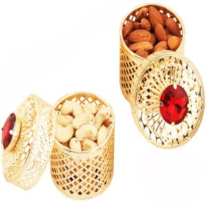 Dryfruits - Golden Small Barnis/jewellery Boxes With Dryfruits