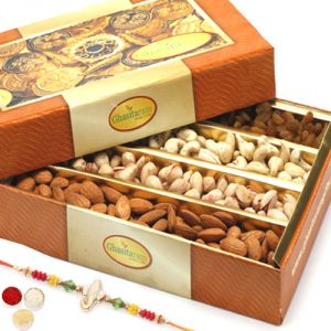 Rakhi Dry Fruits (India) - Rakhi Gifts For Brother  Rakhi Dyfruits- Ghasitaram's Dryfruit Box 800 gms with Om Rakhi