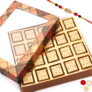 Rakhi Chocolates - Golden Checks Assorted Chocolate Box With Diamond Rakhi