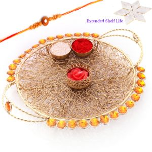 Rakhi Gifts For Usa - Golden Mesh Pooja Thali