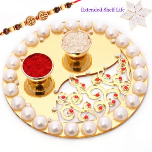 Rakhi Gifts For Usa - Golden Pearl Pooja Thali