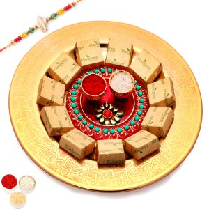 Golden Self Design Tray With Pooja Thali And Chocolates With Red Pearl Rakhi