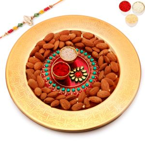 Golden Self Design Tray With Pooja Thali And Almonds With Red Pearl Rakhi