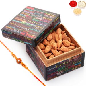 Rakhi Dryfruits - Ideal Brother Almond Box With Red Pearl Rakhi