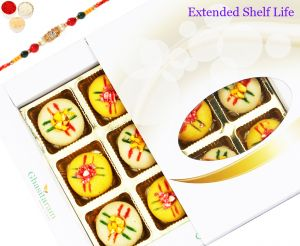 Rakhi Gifts For Abroad - Ghasitarams Sweets Assorted Mawa Peda 12 PCs White Box - 200gms With Om Beads Rakhi
