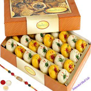 Rakhis & Gifts (India) - Rakhi Gifts Sweets-Ghasitarams Mawa Peda Box with Oval Rudraksh Rakhi