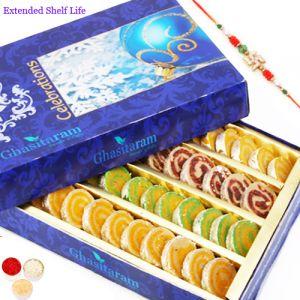 Sugarfree sweets & chocolates - Rakhi Gifts Sweets Sugarfree Assorted Moons Box 200 gms with Rudraksh Rakhi