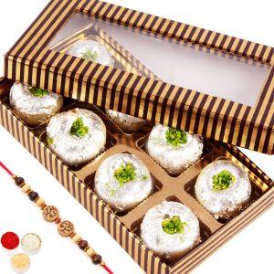 Sugarfree sweets & chocolates - Rakhi Gifts Sweets -Gold and Brown Sugarfree Kaju Peda Box