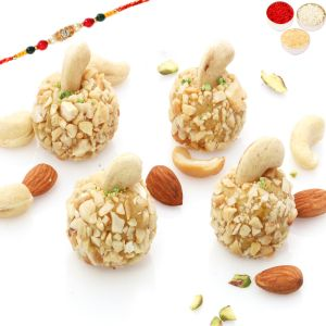 Sugarfree sweets & chocolates - Rakhi Gifts Sweets- Sugarfree Roasted Kaju Laddoo (200 gms)with Oval Rudraksh Rakhi