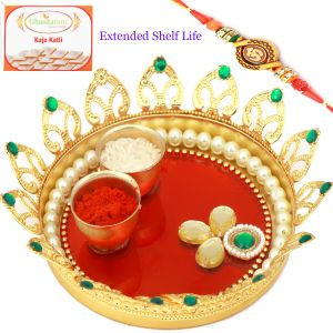 Thalis - Send Rakhi to Brother in Dubai - Designer Flower Pooja Thali with Om Rakhi