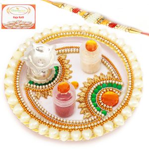 Thalis - Send Rakhi to Brother in Dubai - Designer Pearl Pooja Thali with Pearl Rakhi