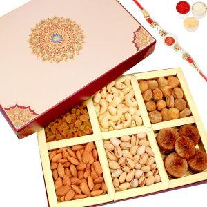 Rakhi Dry Fruits (India) - Rakhi Gifts For Brother Rakhi Dryfruits - Fusion 6 part Dryfruit Box with Om Swastik Rakhi