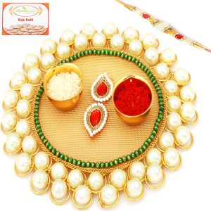 Thalis - Rakhi Gifts for Brother in UAE - Golden Pearl  Net Pooja Thali with Pearl Rakhi