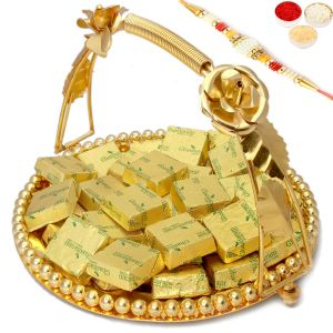 Rakhi Chocolates - Golden Metal Mixed Nuts Chocolate Thali With Pearl Rakhi