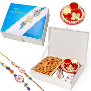 Rakhis & Gifts (Abroad) - Rakh n Dryfruits for Brother Abroad - Happy Rakhi Wooden Box with Almonds, Ganesha Mini Pooja Thali and Bhaiya Bhabhi Rakhi