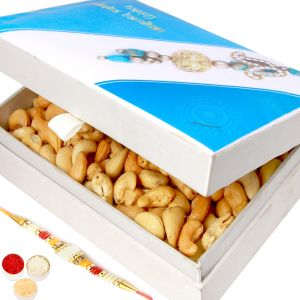 Rakhi Dryfruits - Happy Rakhi Wooden Roasted Cashew Box With Pearl Rakhi