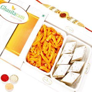 Rakhis & Gifts (USA) - Rakhi Sweets-Kaju Katli and Chakli Hamper Oval Rudraksh Rakhi