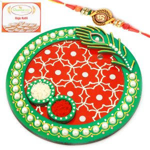 Thalis - Rakhi Thali for Brothers Abroad - Peacock Green Pooja Thali with Om Rakhi