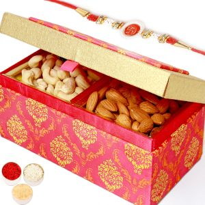 Rakhi Dryfruits - Pink Double Cashew Almond Box With Red Pearl Rakhi