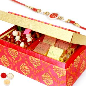 Rakhi Chocolates - Pink Double Chocolate And Nutties Box With Red Pearl Rakhi