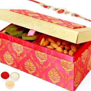 Rakhi Dryfruits - Pink Double Kiwi And Almond Box With Red Pearl Rakhi