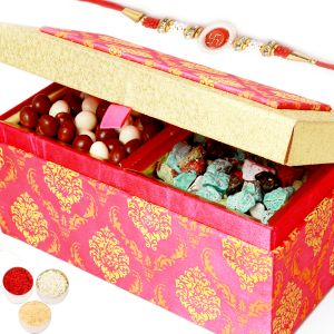 Rakhi Chocolates - Pink Double Stone Chocolate And Nutties Box With Red Pearl Rakhi