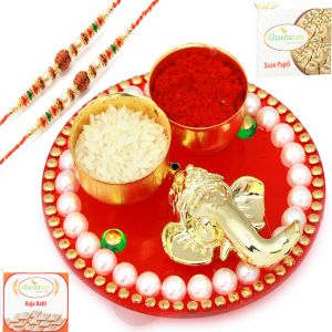 Rakhis & Gifts (Abroad) - Rakhi for Brothers in UK - Red Ganesha Roli Chawal Container with 2 Rudraksh Pearl Rakhis