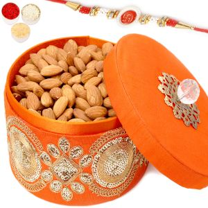 Rakhi Dryfruits - Round Orange Almond Box With Red Pearl Rakhi