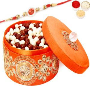 Rakhi Chocolates - Round Orange Nutties Box With Red Pearl Rakhi