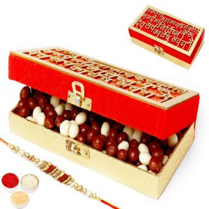 Rakhi Chocolates - Wakrakund Nutties Box With Rudraksh Rakhi