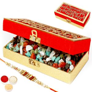 Rakhi Chocolates - Wakrakund Stone/ Rock Chocolate Box With Rudraksh Rakhi