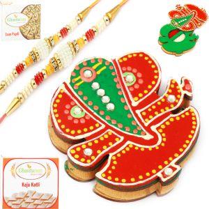 Rakhis & Gifts (USA) - Rakhis Online Usa Wooden Ganesha Roli Chawal Container with 2 Pearl Rakhis