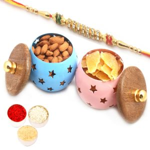 Rakhi Dryfruits - Set Of 2 Almonds And Dried Mango Metal Jars With Diamond Rakhi