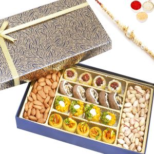 Rakhi Gifts For Abroad - Blue Print Assorted Kaju Sweets, Almonds And Pistachios Box With Pearl Rakhi