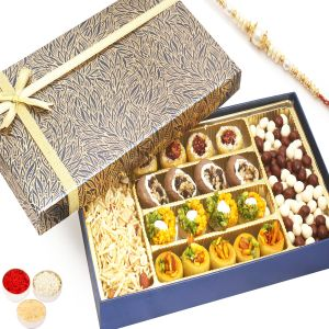 Rakhi Gifts For Abroad - Blue Print Assorted Kaju Sweets, Nutties And Namkeen Box With Pearl Rakhi