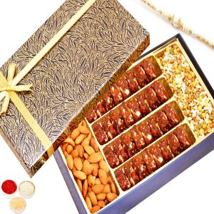 Rakhi Healthy Hampers - Blue Print Almonds, Roasted Protein Mix, Sugarfree Dates And Figs Bites Box With Pearl Rakhi