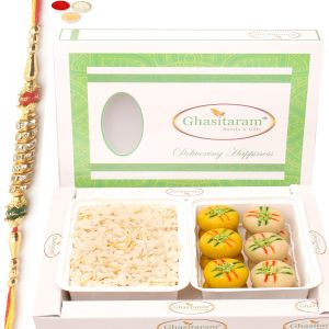 Healthy Hampers - Diet Chiwda Namkeen With Sugarfree Mawa Peda Hamper With Diamond Rakhi