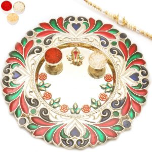 Rakhi Gifts For Abroad - Flowers Of Lovepooja Thali