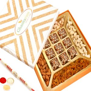 Rakhi Hampers - Ghasitaram Special Dryfruits And 9 PCs English Brittle Chocolate Box With Red Pearl Rakhi