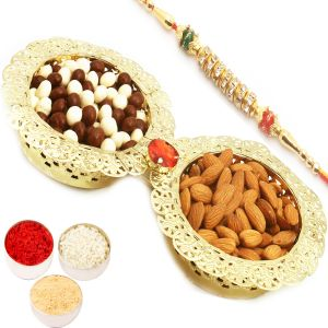 Rakhi Hampers - Golden 2 Bowl Nutties And Almonds Tray With Diamond Rakhi